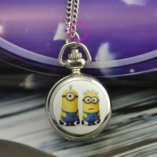 wholesale pocket watch necklace yellow doll despicable me mirror good quality girl ladies children cartoon antibrittle