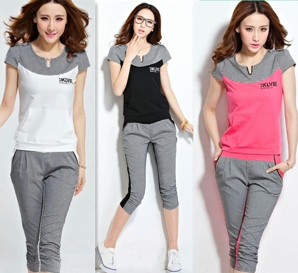New 2014 fashion plaid sport suit women short sleeve pullover women hoody  sets patchwork sports wear sweatshirts female 7e97ad57f452