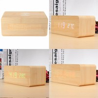Digital LED Wooden Desk Alarm Clock Thermometer Voice Control DC5V USB/3xAAA Batteries Charging Red/Green/Blue