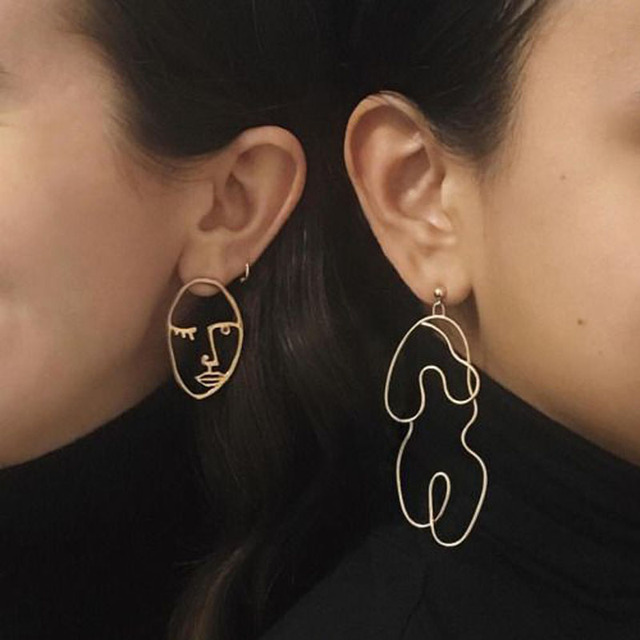 2017 New Fashion Gold Silver Body Statement Dangle Earrings For Women Moon Face Wire
