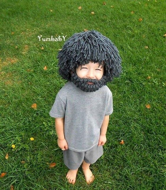 c74cb54a9db Novelty Wig Beard Hats Hobo Rasta Caveman Handmade Knitted Warm Winter Caps  Baby Boy Girl Halloween Gift Funny Children Beanies