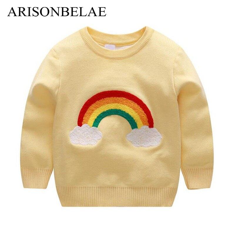 b55ffaba1f2c ARISONBELAE Brand Cute Cloud And Rainbow Pattern Girl Cardigan ...