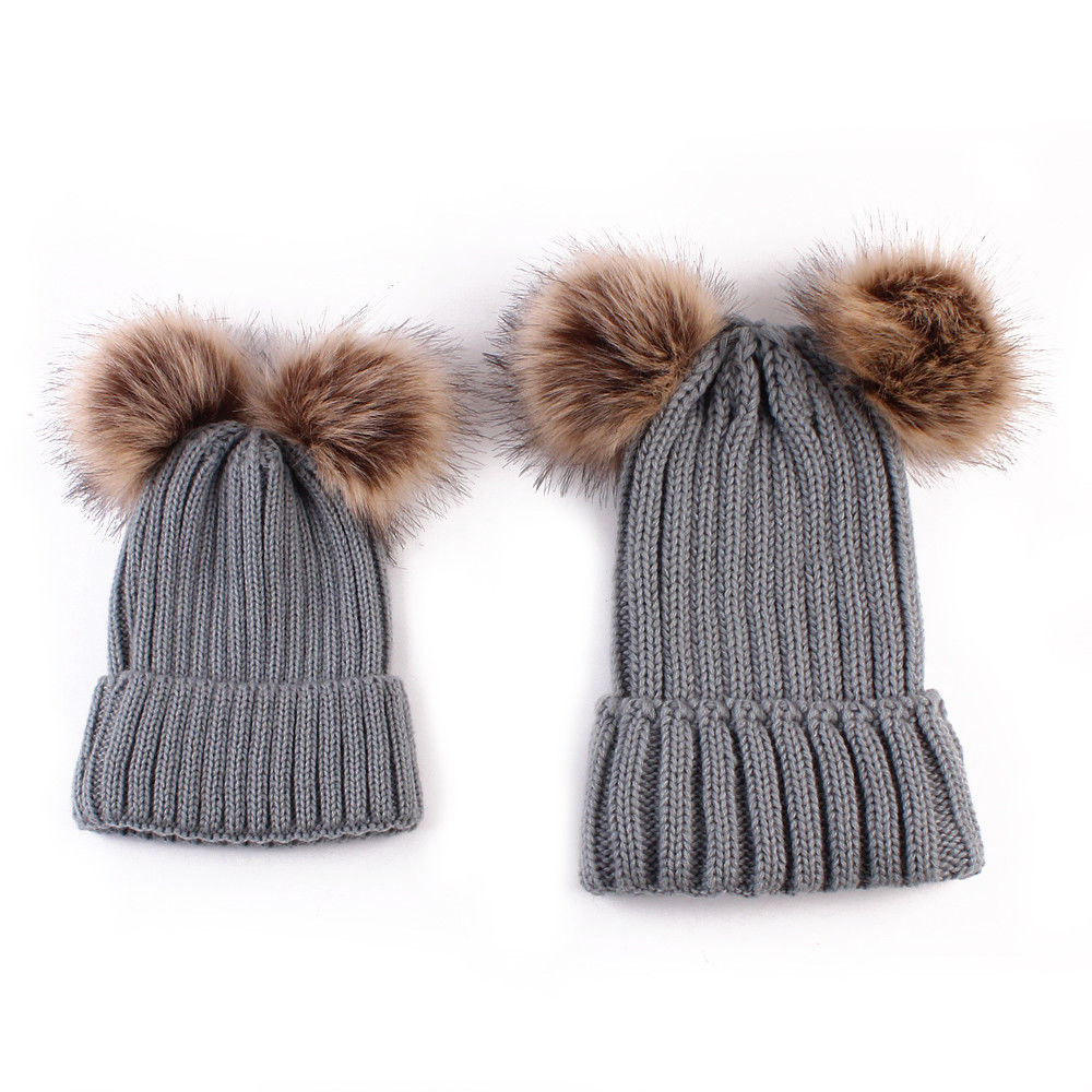 Pudcoco Kids Baby Toddler Boy Girl & Mom Winter Hot Sale Solid Knit Warm Soft Beanie Hat Hairball Cap цены