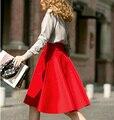 Femininas Мода Элегантные Твердые Длинные Юбки 2015 Уличный Стиль Осень женская Твердые Черный Повседневная Высокая Талия Vintage Midi Юбка