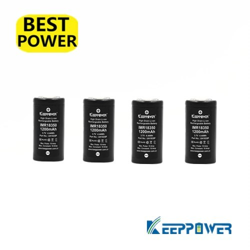 4 pcs Keeppower10A discharge IMR18350 1200mAh UH1835P Li-ion rechargeable battery 18350