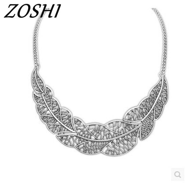 1fa751e233c899 ZOSHI Jewelry wholesale Vintage Antient Gold Silver Leaf Pendant Statement  Necklace For Woman New collar necklaces