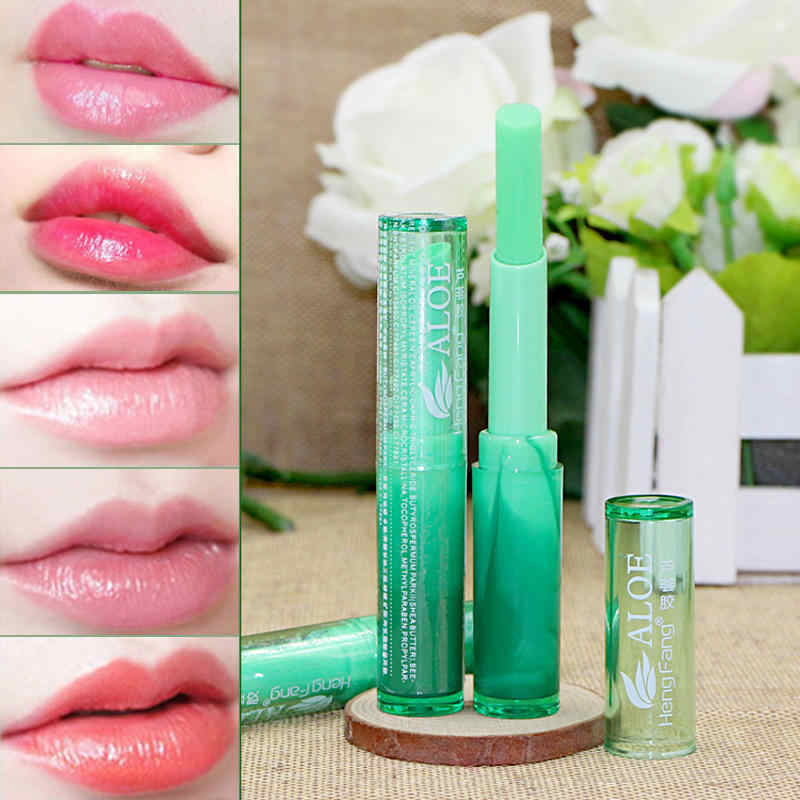 Hot Winter Protect Lip Moisturizer Nutritious Lipbalm Makeup Aloe Vera Plant Lipstick Women Temperature Chang Color Lip Stick