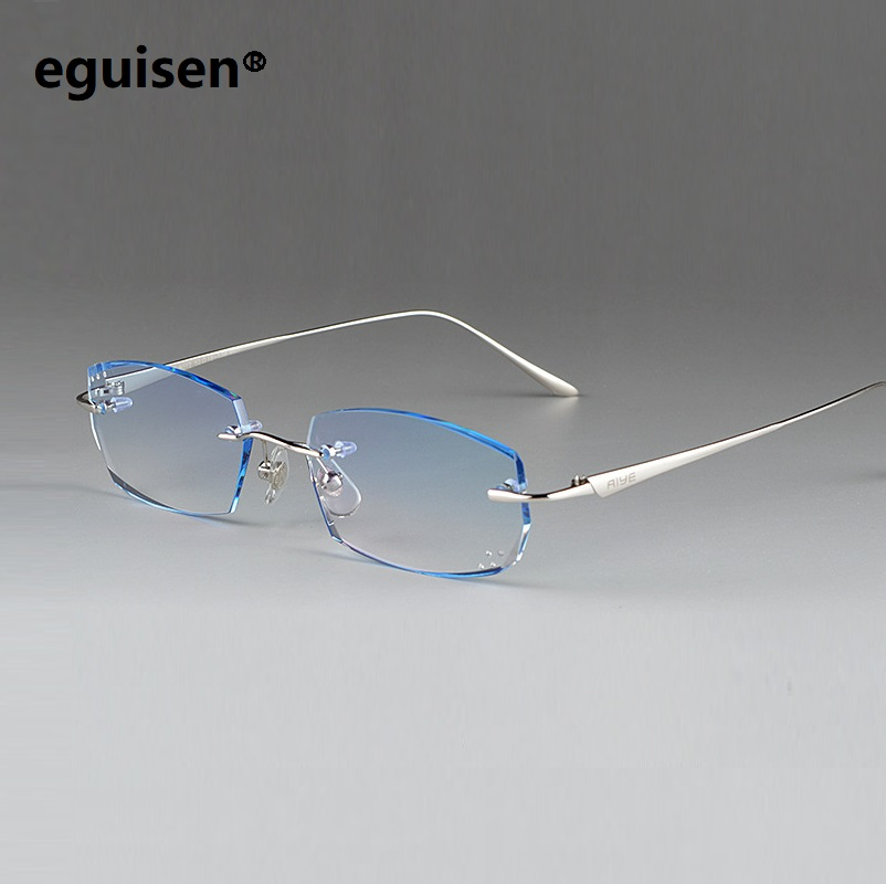 width-136 Fashion ultra light pure Titanium men business rimless Cutting Finished prescription eyeglasses male eyewear glasses image