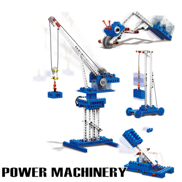 Newest Power Machinery 4 in 1 Model Building Blocks Wange Technic Educational Toys Electronic Engineering Crane Assembly Blocks