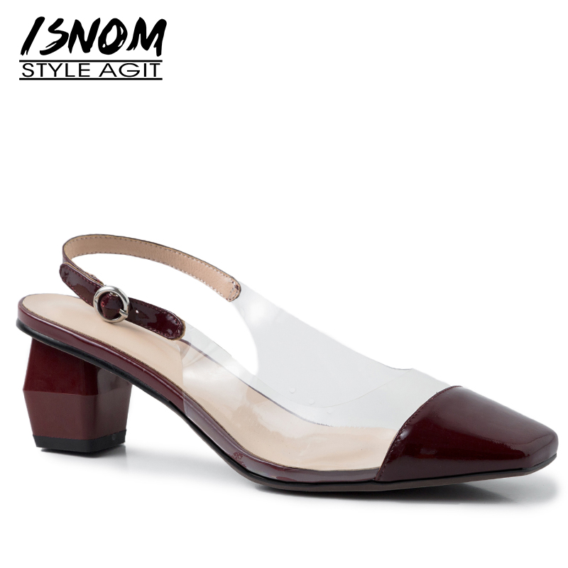 ISNOM Patent Leather Sandals Women Square Toe Footwear Unusual Heel High Sandals Transparent Pvc Shoes Party