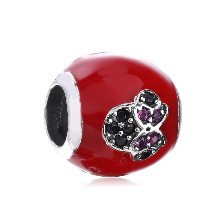 Authentic 925 Sterling Silver red enamel Round beads Pave CZ Love heart Mickey Fits Pandora Style Bracelets DIY jewelry making