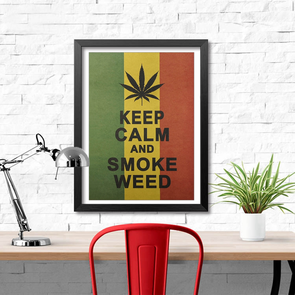 Jamaica Reggae Style Keep Calm And Smoke Weed Poster Wall Sticker Kraft Paper Poster Minimalist Striped  Home Decor Painting