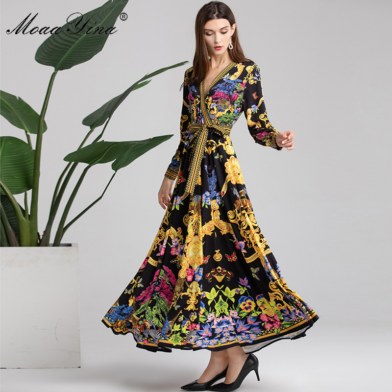 MoaaYina Fashion Designer Runway Dress Spring Autumn Women Long sleeve V neck Vintage Animal Floral Print