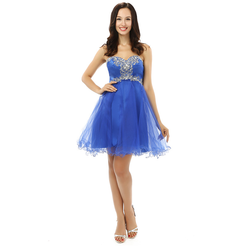 H&S BRIDAL Blue Short Tulle Sequins Beaded   Cocktail     Dresses   A Line Sexy Girls Sweet Homecoming   Dresses