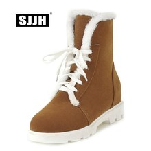 SJJH Women Short Snow Boots with Round Toe Zip Plush Comfort Winter Warm Casual Fashion Shoes for Girls Large Size A1376