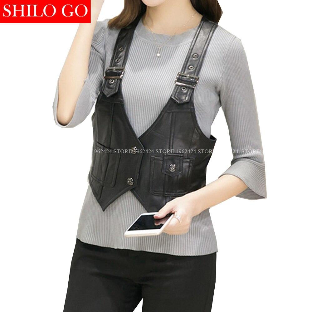 SHILO GO New Fashion Street Women's Short V-Neck sheepskin Genuine Leather Strap Metal buttons short section Black Ladies Vest