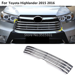 Auto Body Cover Detector Abs Chrome Trim Front Up Grid Grill Grille Rond Hoods 1 Stuks Voor Toyota Highlander 2015 2016 2017