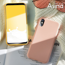 Original Liquid Silicone Case For iPhone 6 6s 7 8 Plus Plain Color Clear Bumper X Xs Max XR Fundas Capas