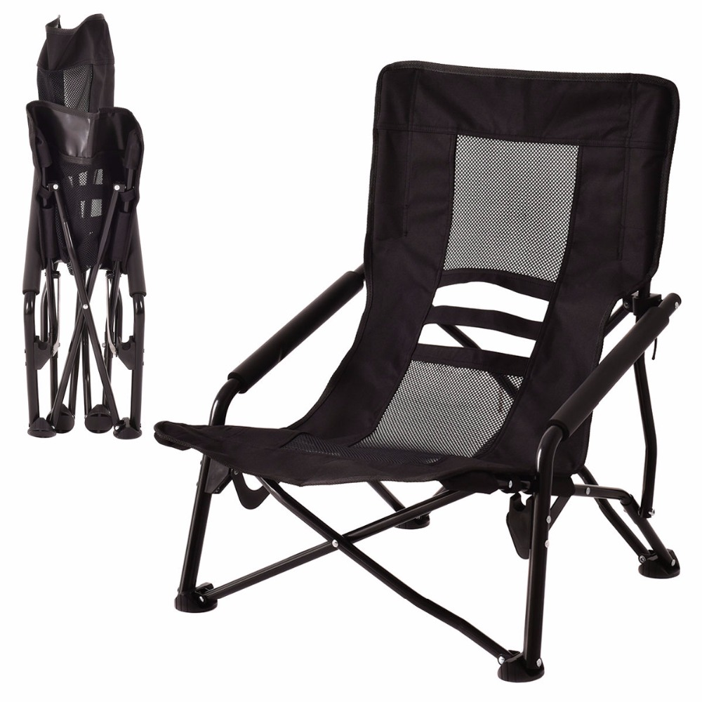 Camping Rocking Chair Goplus Outdoor High Back Folding Beach Chair Oxford Camping Furniture Portable Mesh Chair Black Seat Fishing Stool Op3079