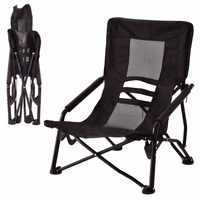 Goplus Outdoor High Back Folding Beach Chair Oxford Camping Furniture Portable Mesh Chair Black Seat Fishing Stool OP3079