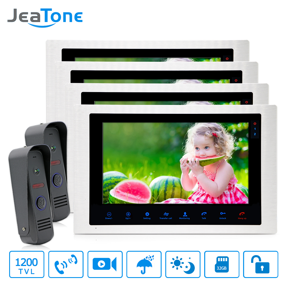 10'' 4-wired 1200TVL Video Door Phone Intercom Doorbell Security Access System Wide View Lens Motion Detection Voice Message 2-4