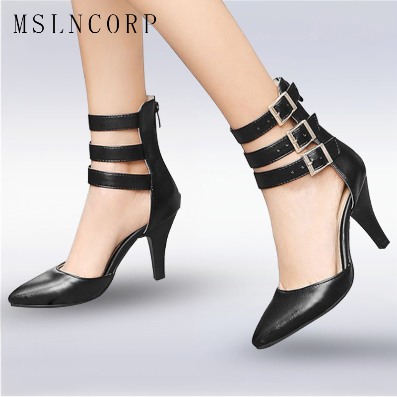Size 34-48 Fashion sexy Women Summer Shoes High Heels Pointed Toe Sandals Women Ankle Boots Gladiator Buckle Ladies Party Pumps summer new pointed thick chunky high heels closed toe pumps with buckle ankle wraps sweet sandals women pink black gray 34 40