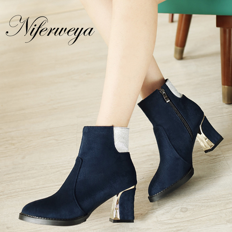 3 Color 2016 Fashion women winter shoes big size 34-48 flock high heels Pointed Toe Mixed Colors zipper Ankle boots AYY-671