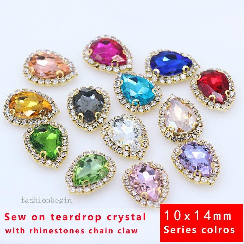 10x Crystal AB FlatBack Glass Sew On Rhinestone Pear Shape Sewing Embellishments