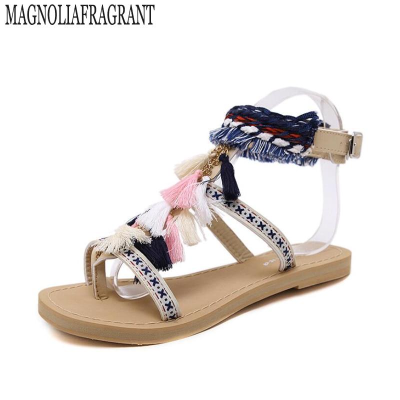 bohemia summer shoe gladiator sandals women shoes 2017 tassel flat multicolour fuzz ball pom pom sandals female ankle leg strap pom pom detail tie leg flat sandals