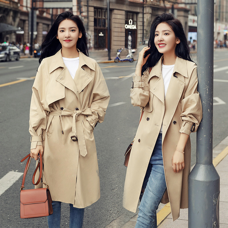 Spring Autumn Long Sleeve Mid-length Double breasted   Trench   Women's Solid Windbreaker
