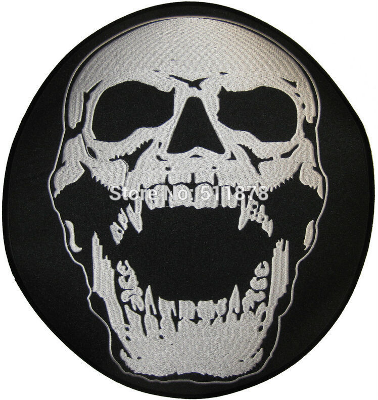 "Biker Vest Patches >> 11.8"" XXL Screaming Skull HEAD Biker Rockabilly Punk Rock Outlaw MC Embroidered Motorcycle Biker ..."
