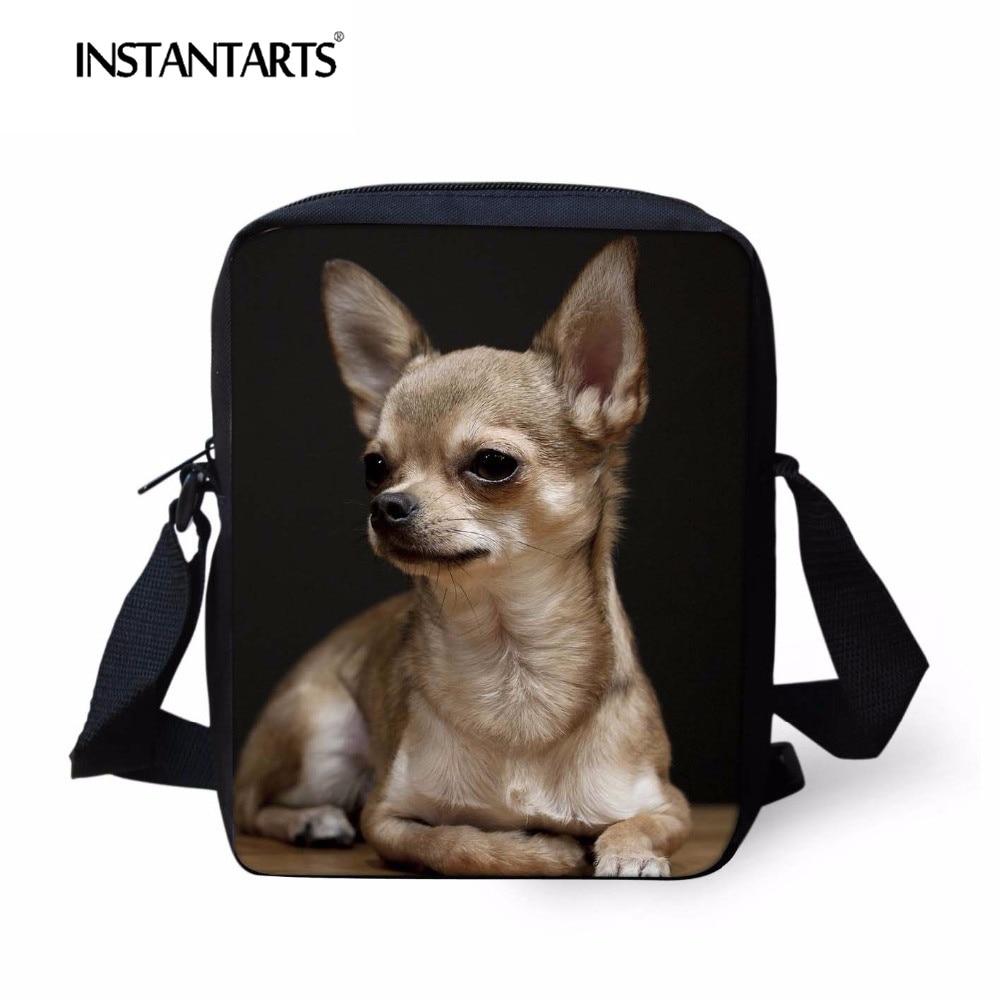 INSTANTARTS Cute Chihuahua Women Mini Messenger Bags 3D Kawaii Dog Pattern Children Mochilas Small Schoolbag Single Shoulder Bag School Bags     - title=
