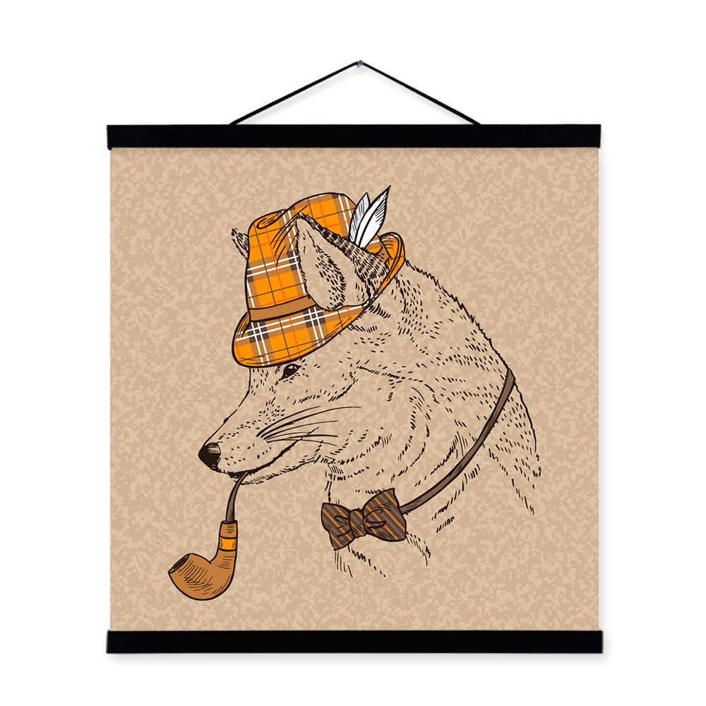 Fox Vintage Retro Gentleman Animal Portrait <font><b>Hippie</b></font> Wooden Framed Canvas Painting Wall Art Print Picture Poster Scroll <font><b>Home</b></font> <font><b>Decor</b></font>