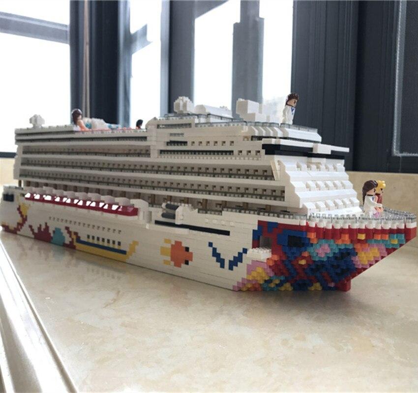 Luksusowy rejs liniowej statek duży biały Boat DIY diament Mini budynek Micro bloki cegły montowane zabawki dla dzieci prezent dla dzieci RK7800 w Klocki od Zabawki i hobby na  Grupa 1