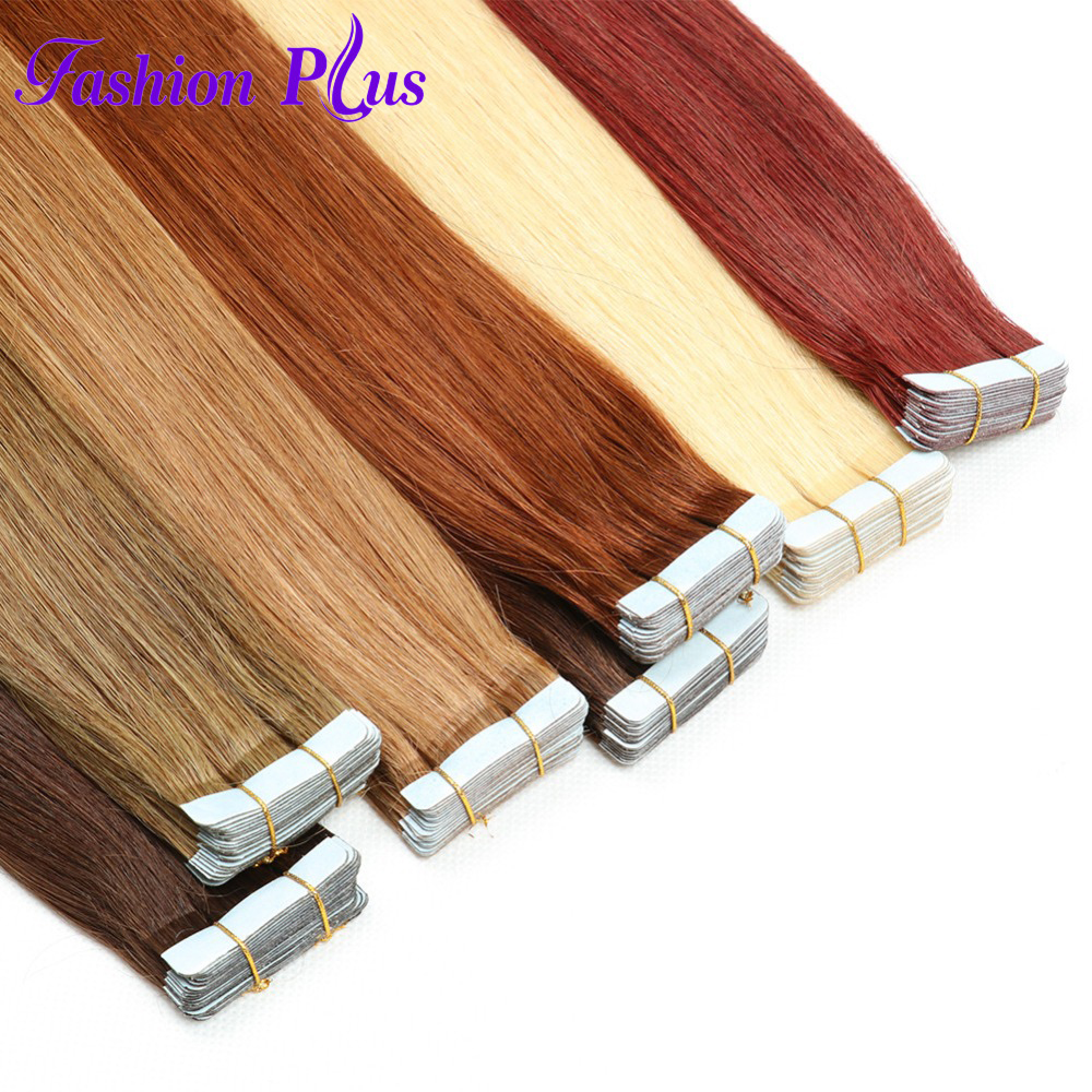 Fashion Plus Tape In Human Hair Extensions Double Drawn Remy Human Hair Tape Extensions 20PCS/Set Full Head Straight 16-26inch