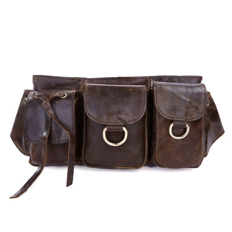 Nesitu High Quality Vintage Brown Real Skin Female Male Belt Bag Genuine Leather Cowhide Women Men Waist Bags #M3014