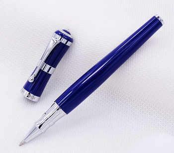 Fuliwen 2051 Metal Rollerball Pen, Fresh Fashion Style Fine Point 0.5mm Beautiful Blue for Office Home School, Men and Women
