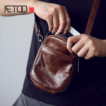 1b09997d23e2 AETOO мужская кожаная косой крест Baotou слой воловья кожа мини сумка  пакеты сумка на плечо Мобильный телефон сумка японская маленькая сумка