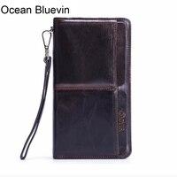 OCEAN BLUEVIN new hot Wallet Men Leather Genuine Solid Men Wallets Leather Coin Purse Zipper Vintage Card Holder Long
