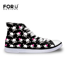 FORUDESIGNS Men's Vulcanize Shoes Skull Printing Canvas High Top Shoes Teenager Boys Lace-up Flat Shoes Male Breathable Footwear
