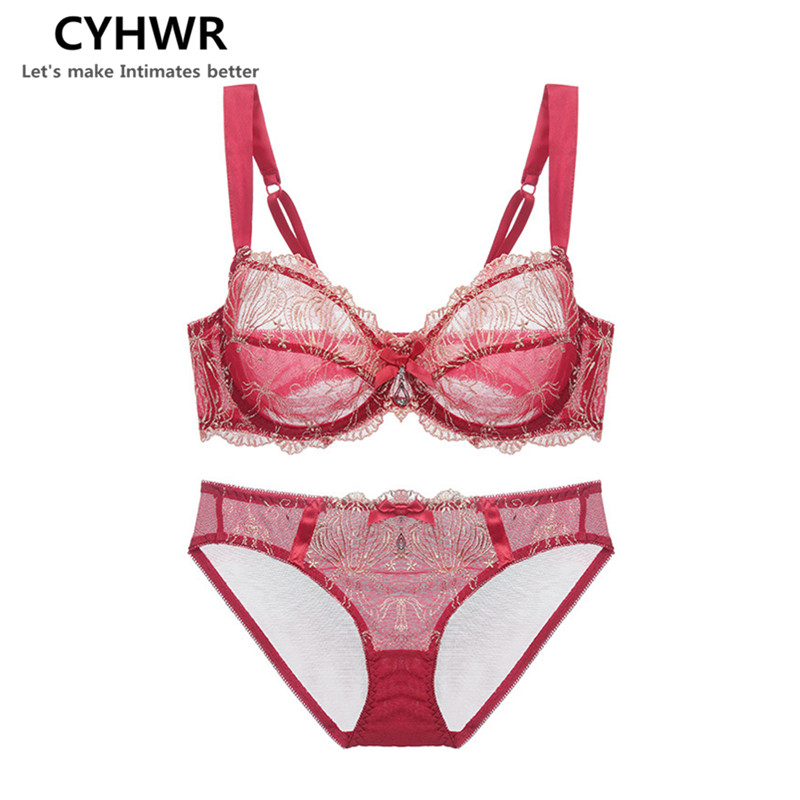 CYHWR Charming Comfortable Thin Lace Breathable Bra Set Embroidery Floral Pattern Red Underwear Bra and Brief Set