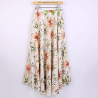 Free Shipping Blend Linen Long Skirt Spring Skirt Chinese Style Lily Print Skirts Casual Vintage Skirt
