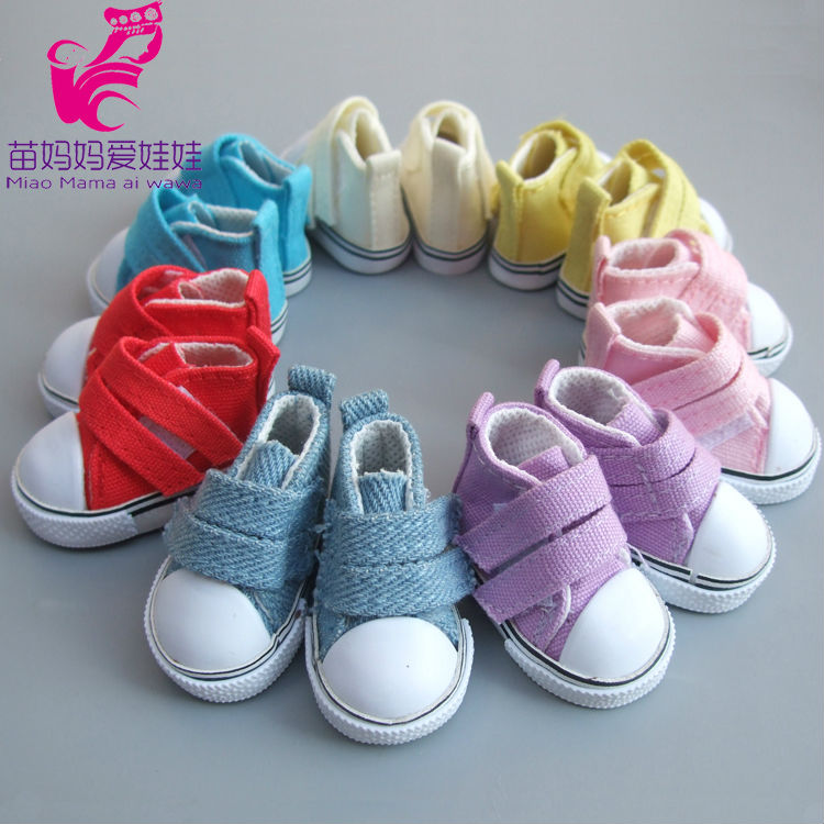 5cm Doll Shoes Denim Sneakers For Handmade Fabric Art Dolls, Denim Canvas Mini Toy Shoes For Handmade Russian Doll