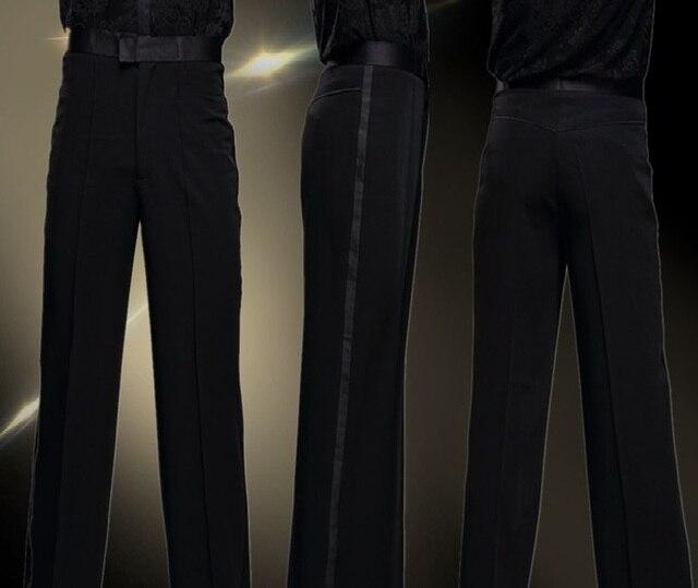 2017 noir Satin ruban sur le côté Latin danse pantalon hommes Latin pantalon hommes danse de salon pantalon