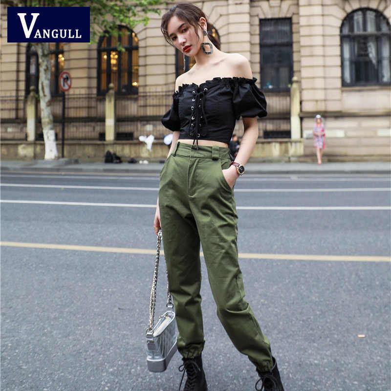 Spodnie z wysokim stanem Vangull nowe luźne biegaczy damskie spodnie kamuflażowe army harem streetwear punk czarne spodnie cargo damskie spodnie capris