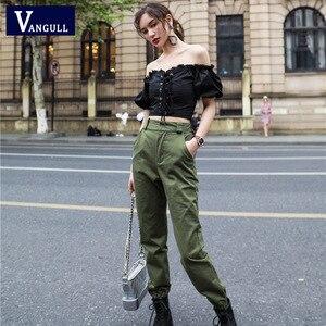 Image 2 - Vangull calças de cintura Alta Novas soltos corredores harem das mulheres do exército calças cargo camo calças streetwear do punk preto mulheres calças capris