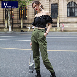 Image 2 - Vangull גבוהה מותניים מכנסיים חדש רופף רצים נשים צבא הרמון camo מכנסיים streetwear פאנק שחור מטען מכנסיים נשים capris מכנסיים