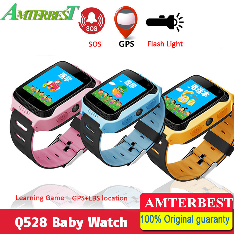 AMTERBEST Q528 Touch Screen GPS Children Kids Smart Watch with Lighting Phone Location SOS Call Remote Monitor PK Q90 Q80 цена 2017