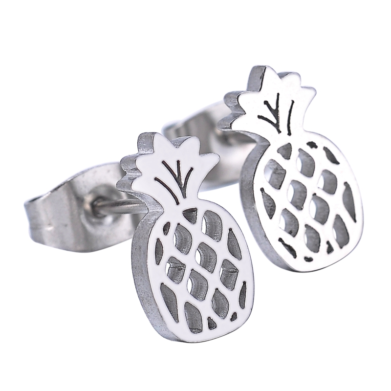 MJARTORIA 1pairs Classic Pineapple Stud Earrings Fashion Silver Color Stainless Steel Earrings Jewelry For Men Women 11mmx6mm