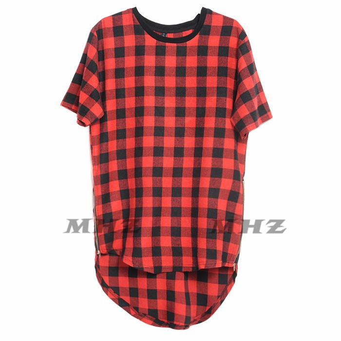 572dca0e ROYEW Zipper Plaid Hip Hop t shirt men Star Look Man Hiphop Skakeboard  Streetwear Swag Tshirt Tops Tees T shirt Men Tyga Style-in T-Shirts from  Men's ...